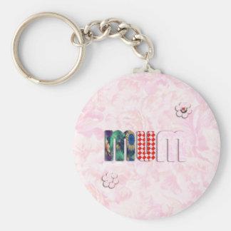 Patchwork 'MUM'  on Pink Rose Background Keychains