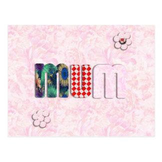 Patchwork MUM on Pink Rose Background Postcard