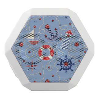 Patchwork Nautical Design White Bluetooth Speaker