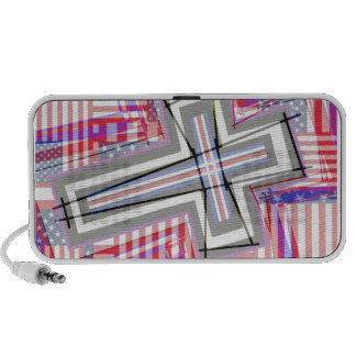 Patchwork of Crosses and Flags Travelling Speaker