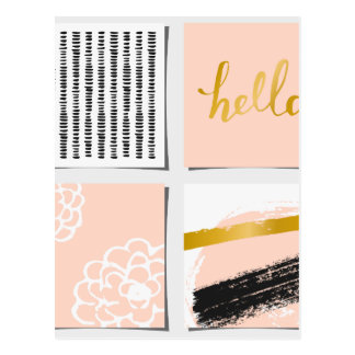 Patchwork of modern pattern,coral pink,black,gold, postcard