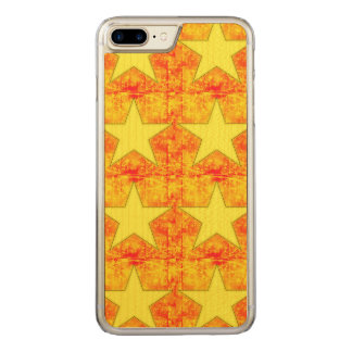 Patchwork of Yellow Stars on Red Carved iPhone 7 Plus Case