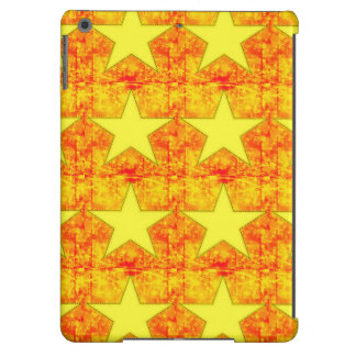 Patchwork of Yellow Stars on Red Cover For iPad Air