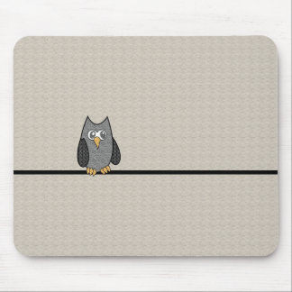 Patchwork Owl Black and White with Tan Background Mousepads