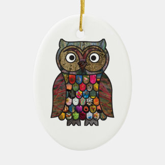 Patchwork Owl Christmas Ornament