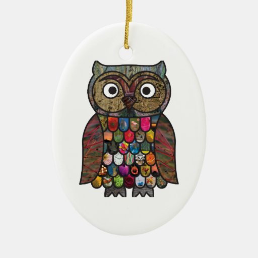 Patchwork Owl Christmas Tree Ornaments