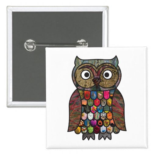 Patchwork Owl Square Badge Buttons