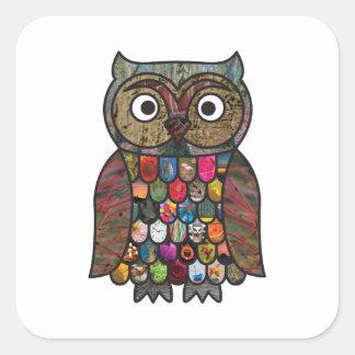Patchwork Owl Square Sticker