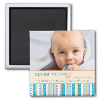 Patchwork Pattern Baby Boy Photo Magnet