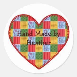 Patchwork Pattern Hand Made Label Round Sticker