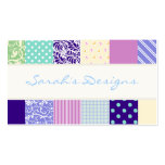 Patchwork pattern squares - purple, yellow & blue pack of standard business cards