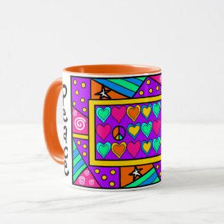 Patchwork Peace and Love Mug