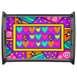 Patchwork Peace and Love Serving Tray