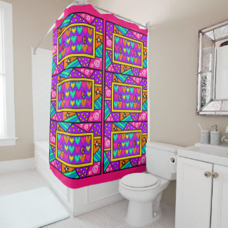 Patchwork Peace and Love Shower Curtain