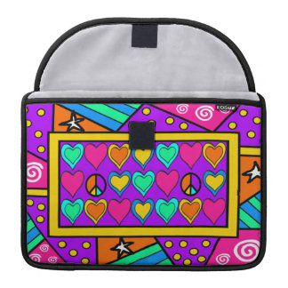 Patchwork Peace and Love Sleeve For MacBooks