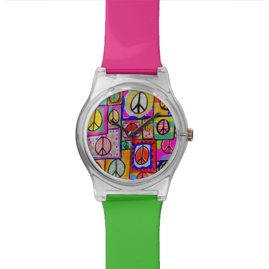 Patchwork Peace Signs Watch