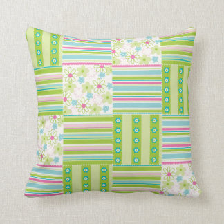 Patchwork Quilt Floral Flower Striped Green Pink Cushion