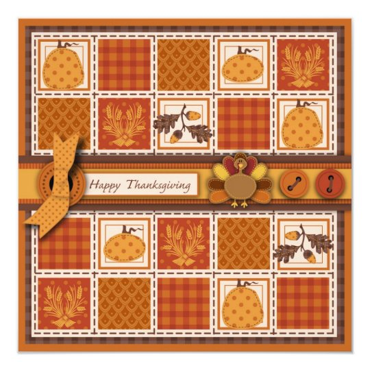 Patchwork Quilted-look Thanksgiving Card