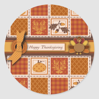 Patchwork Quilted-look Thanksgiving Classic Round Sticker