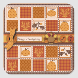 Patchwork Quilted-look Thanksgiving Square Sticker