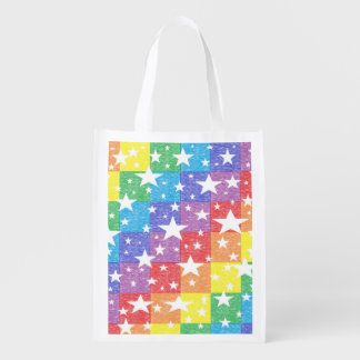 Patchwork Rainbow and Stars Reusable Grocery Bag