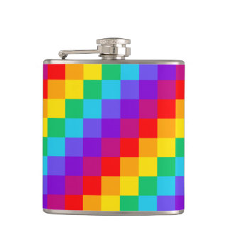 Patchwork Rainbow Vinyl Wrapped Flask