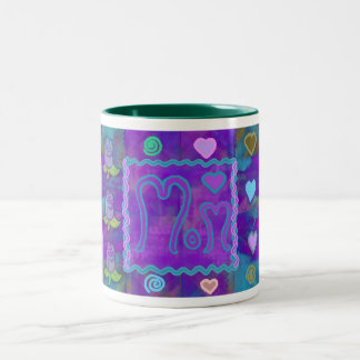 Patchwork Rose Collage Two-Tone Coffee Mug