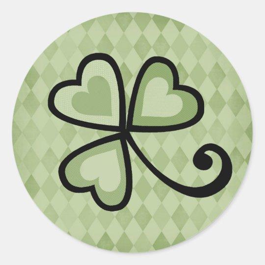 Patchwork Shamrock Hearts Round Sticker