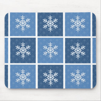 Patchwork Snow Winter Holiday Mousepad