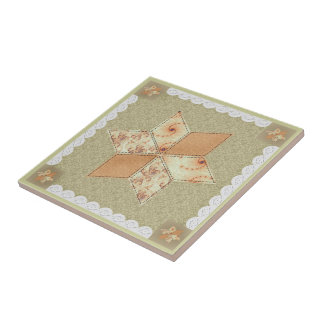 Patchwork Star Quilt Block Tile