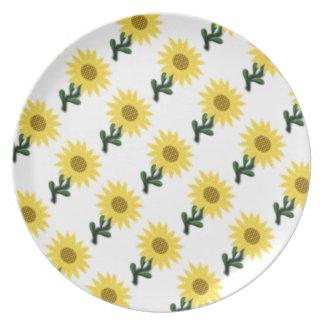 Patchwork Sunflower Melamine Plate