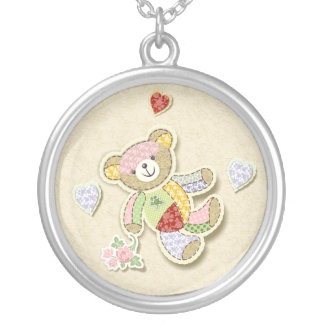 Patchwork Teddy Bear Silver Plated Necklace