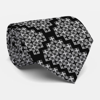 Patchworked Plus Monotone Gray Squares Tie