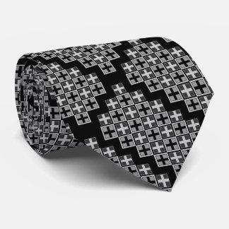 Patchworked Plus Monotone Gray Squares Tie