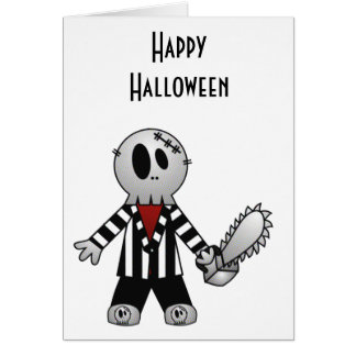 PATCHY CHAINSAW HALLOWEEN SKELETON GREETING CARD