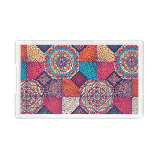 Patchy tribal mandala floral ornament pattern acrylic tray