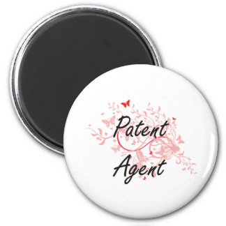 Patent Agent Artistic Job Design with Butterflies 6 Cm Round Magnet