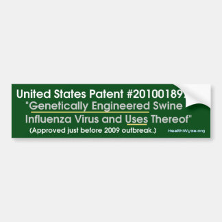 Patented H1N1 Virus Bumper Sticker