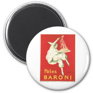Pates Baroni Vintage Food Ad Art 6 Cm Round Magnet