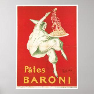 Pates Baroni Vintage Food Ad Art Poster