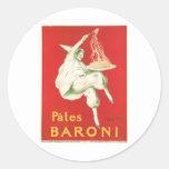Pates Baroni Vintage Food Ad Art Round Sticker
