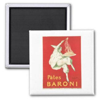 Pates Baroni Vintage Food Ad Art Square Magnet
