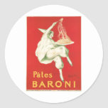 Pates Baroni Vintage Food Ad Art Classic Round Sticker