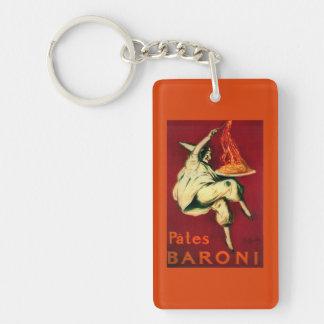 Pates Baroni Vintage PosterEurope Double-Sided Rectangular Acrylic Key Ring