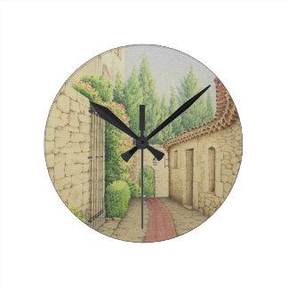 Path in Eze, Cote D'Azur France in Pastel Clock