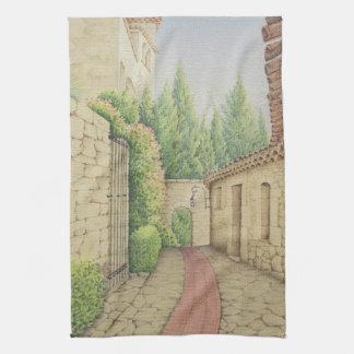 Path in Eze, Cote D'Azur in Pastel Tea Towel