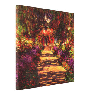 Path in Monets garden in Giverny by Claude Monet Stretched Canvas Print