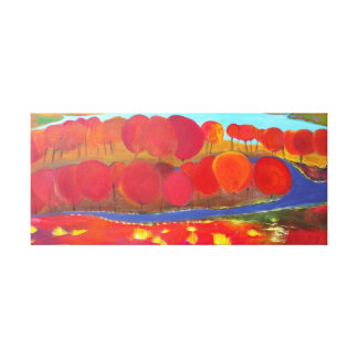 Path in the red forest gallery wrapped canvas