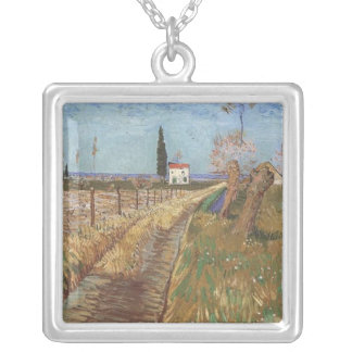 Path Through a Field with Willows Silver Plated Necklace