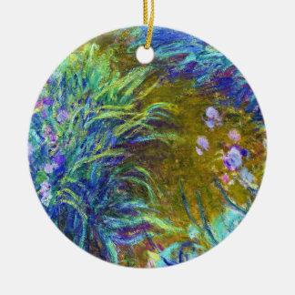 Path through the Irises Claude Monet Double-Sided Ceramic Round Christmas Ornament